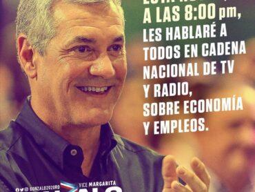 GONZALO CASTILLO SE DIRIGIRÁ AL PAÍS A LAS 8:00 DE LA NOCHE POR UNA CADENA DE RADIO Y TELEVISIÓN